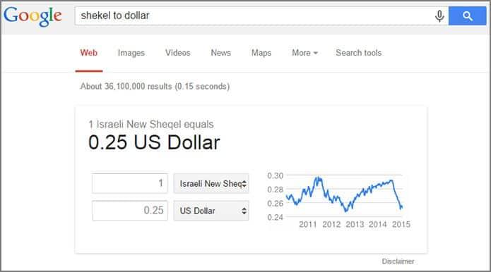 חיפוש מתקדם בגוגל: המרת מטבע