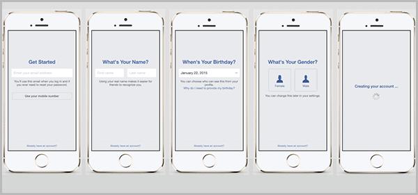 מדידה מרובת מכשירים - הרשמה לפייסבוק במובייל