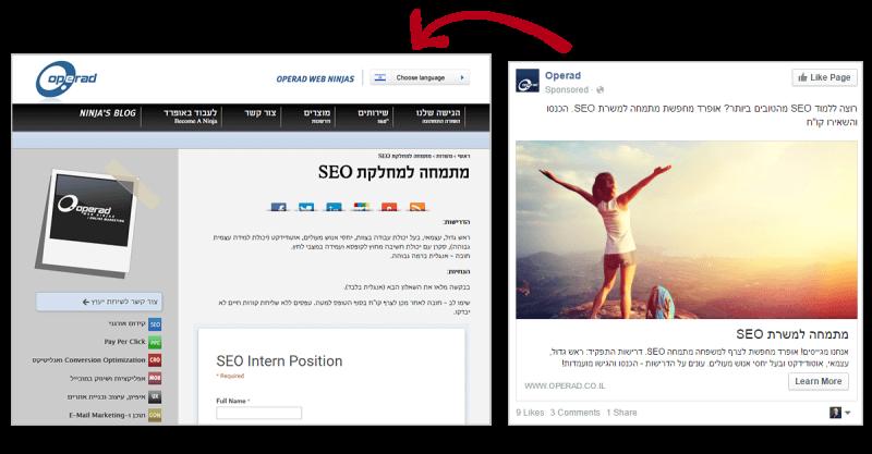 מודעות פייסבוק מעולות - המשכיות גרועה ממודעה לדף נחיתה