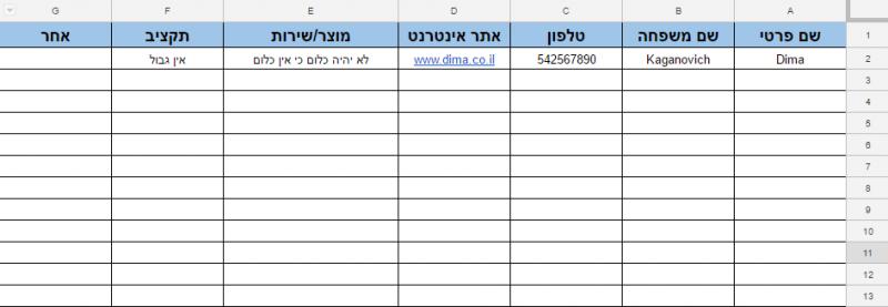 בוט מגייס לידים: טבלה מלאה